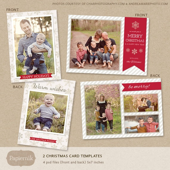 Items similar to digital photoshop christmas card template for photographers psd flat card for Photoshop holiday card templates
