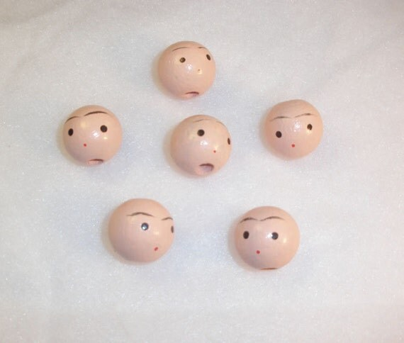 wooden doll heads 20 mm vintage crafts supply pkg of 6