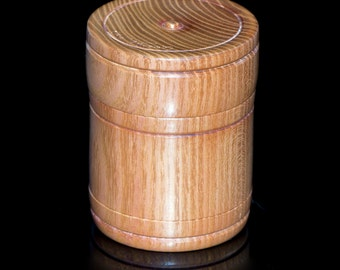 Turned wooden box with lid, (3.25  inches tall), osage orange