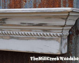 """Wall Shelf 48"""" Distressed Crown Molding Ledge Mantle Fireplace Mantel Rope Trim Entryway Organizer Wooden Headboard Rustic Home Decor"""