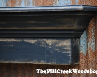 Distressed Wall Shelf 36 Inches Black Distressed Shelf Ledge Mantel