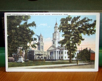 Vintage Postcard, First Congregational Church & Court House, Springfield Massachusetts 1930s Paper Ephemera