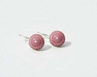 Hoop earrings with red mosaic beads - nickel-free