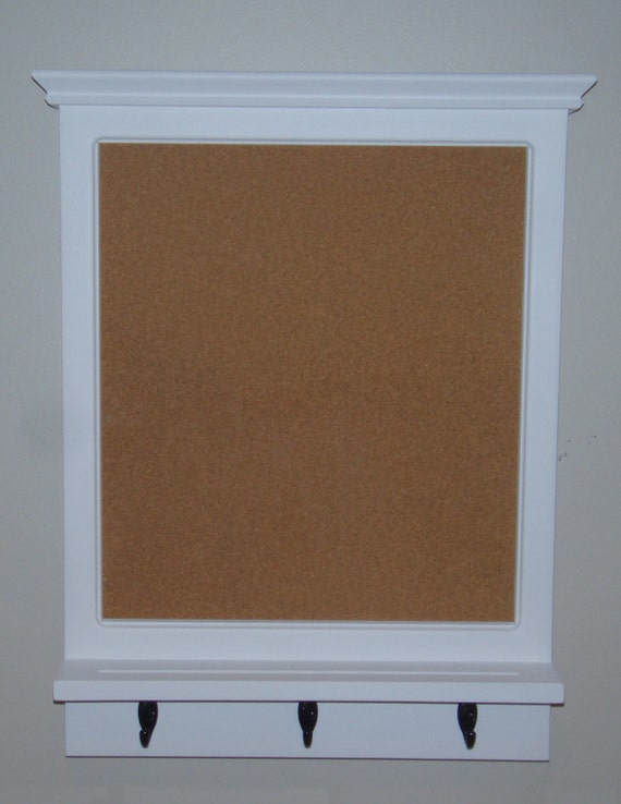 Items similar to wood framed bulletin board with shelf and for Cork board with hooks
