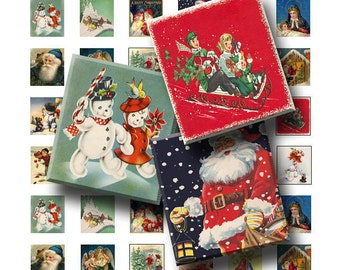 99 Cent Sale - Vintage Christmas - Digital Collage Sheet   - .75 x .83 Scrabble Size - INSTANT DOWNLOAD