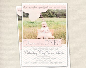 First Birthday- Printable Invitations Chevron Pattern Pink and Grey