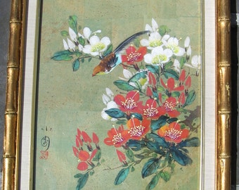 Detailed Asian Painting Framed Flowers and Bird