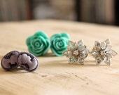 SET of Plugs Custom 4g 2g 0g 00g Vintage Inspired GRAB BAG Flowers Faux Pearls Cameo Gauges Three Pair Size 4 2 0 00 Wedding Bridal Wear
