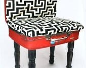 Upcycled Vintage Suitcase Chair Black and White Geometric Print