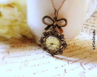 Watch Necklace Pendant with bow and antique bronze doily setting  Antique Style vintage Jewelry Gift for her - Time goes By