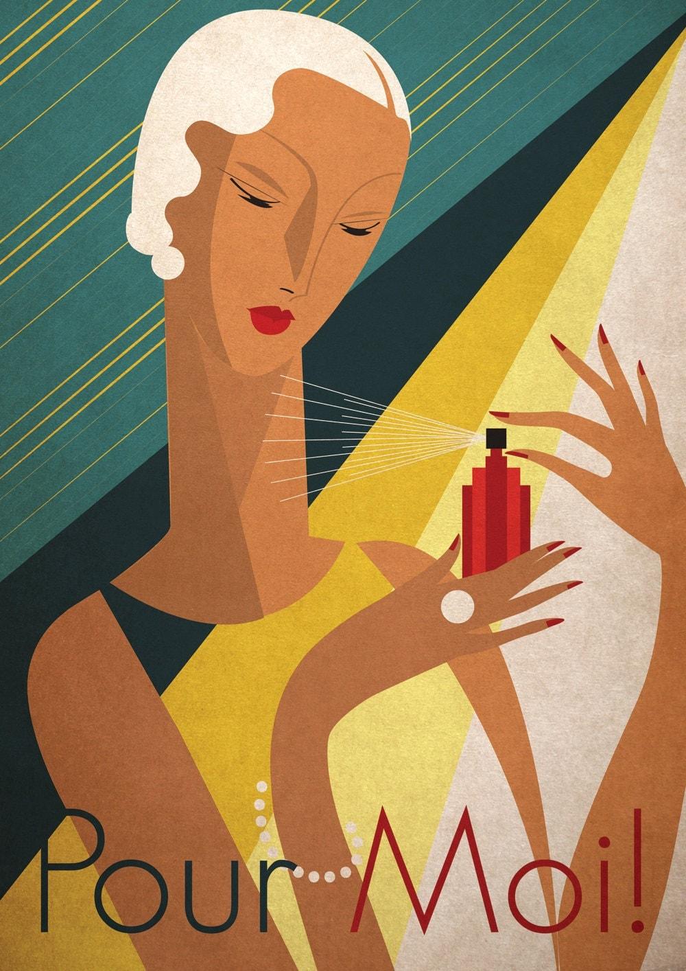 Art deco poster vintage bauhaus print vouge fashion by for Classic art deco