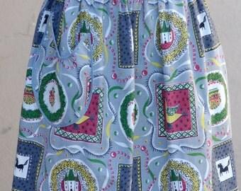 Vintage Bark Cloth Apron, 1950s Half apron, Mid Century Linens, Mad Men Clothing