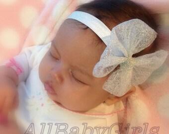 Silver Headband, Baby Headband, Bow Headband, Newborn Headband, Infant Headbands, Newborn Headband, Headband Bow, Bow Silver Headband