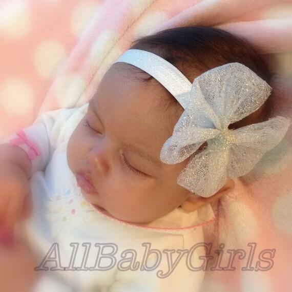 Baby Bows, Silver Headband, Baby Headband, Bow Headband, Newborn Headband, Infant Headbands, Newborn Headband, Headband Bow, Bow Silver