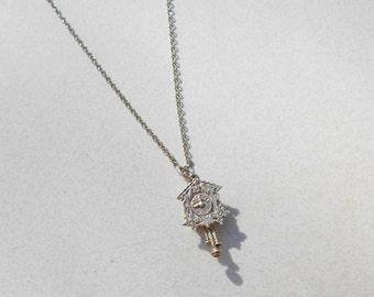 Vintage necklace Silver pendant cuckoo Clock 925 Montana Silversmiths 1980s jewelry
