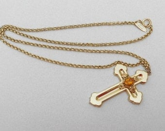 Vintage Cross and chain an elaborate 1960s mid century necklace pendant by Whiting and Davis