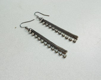 pierced vintage earrings glass rhinestones and chains early 1990s bling bling