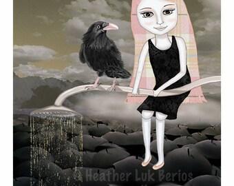 Rain Cloud - Limited Edtion Fine Art Print - Digital Painting - Fantasy, Whimsical, Pink, Grey, Black, Crow