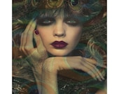 Peacock Goddess, digital print, modern portrait, photomontage, digital art, fine art print, home decor, fantasy portrait, contemporary art