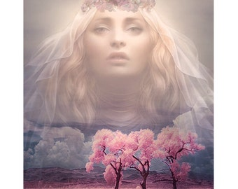 Blossom Goddess, digital print, photomontage, modern art, princess print, contemporary, fantasy portrait, fine art, wall art, home decor