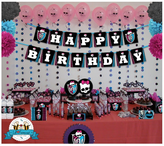 Monster High Birthday Party decoration EDITABLE Printable Personalized Package Set - Birthday Printable Supplies