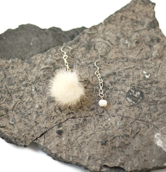 CLEARANCE Trendy upcycled fur earrings - Repurposed real cream mink fur with white freshwater pearl - Eco-friendly