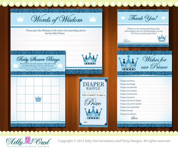 Royal Little Prince Baby Shower Essentials Printable Party Kit with blue prince crown - ONLY digital file - you print