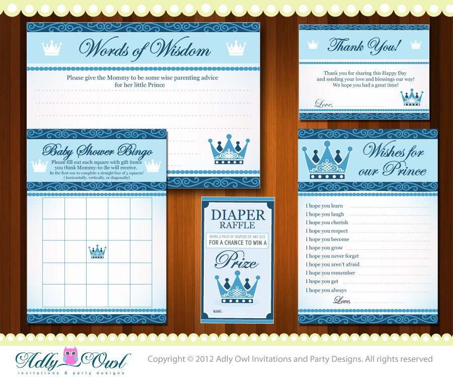 royal little prince baby shower essentials printable party kit