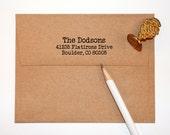 Return Address Stamp self inking with typewriter font, black self inking stamp, rubber stamp wood handle