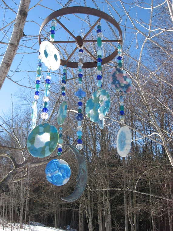 Handmade Upcycled Plastic And Glass Blue Moon Suncatcher