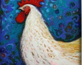 Chicken art, original oil pastel signed by the artist