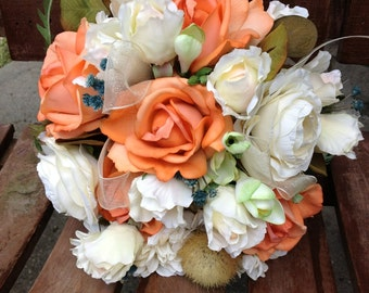 Coral Ivory and Teal Blue Real Touch Silk Bridal Bouquet / Grooms Boutonniere / Silk Wedding Flowers / Ivory Bridal Bouquet