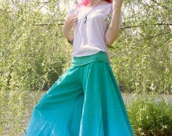 Aqua Wide Leg Pants, Gift for mom, Yoga Retreat Clothing, Prenatal Yoga Clothes,  BurningMan Costume, Aqua Palazzo Pants