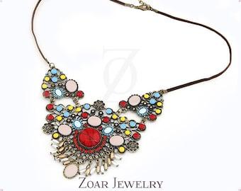 Bohemian Style Multi Color Bubble Bib Statement Fashion Party Necklace