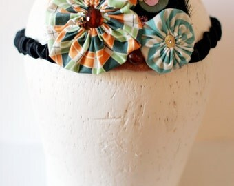 Child's Headband Crown with Vintage Beads and Fabric Yo Yos, Black Feather