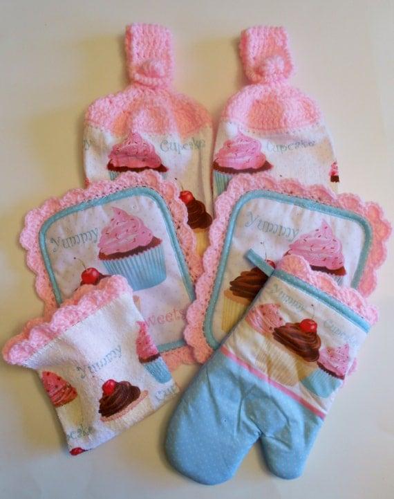 ... Kitchen Decor, Hanging Towels, Pot Holders, Pink Crochet Kitchen Set