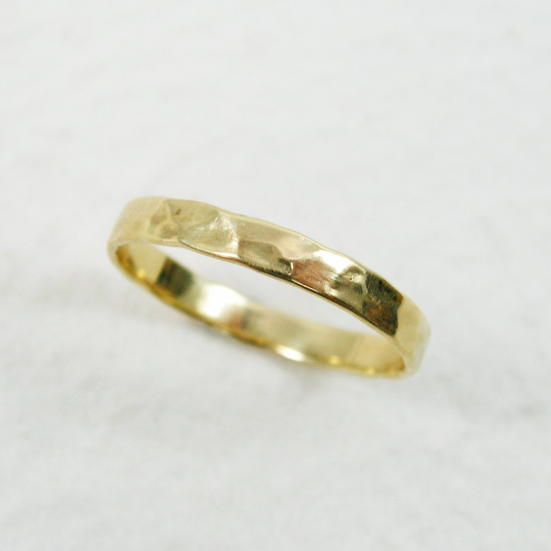 18k gold hammered 3mm wedding band gold wedding ring