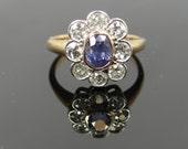 Sweet Vintage Bezel Set Diamond Halo and Pale Blue Purple Ceylon Sapphire Ring WL9Q16-P