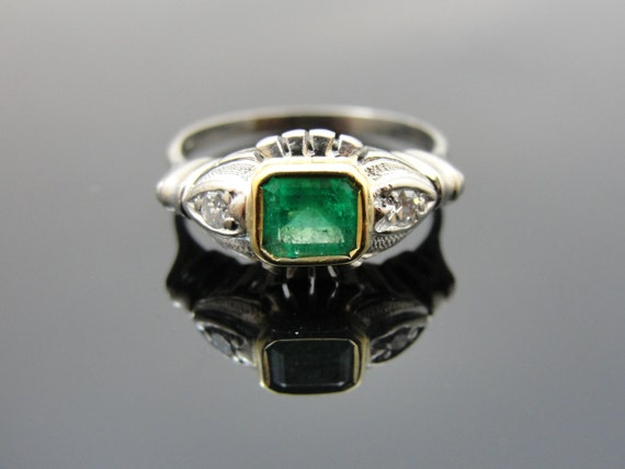 Art Deco Emerald Ring in 18k Yellow and White Gold, Stunning One of a Kind Piece, RGEMR104D
