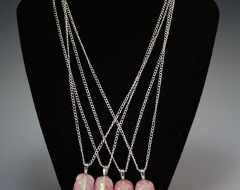 Bridesmaid Necklaces shown in pink glass (customizable colors and designs)