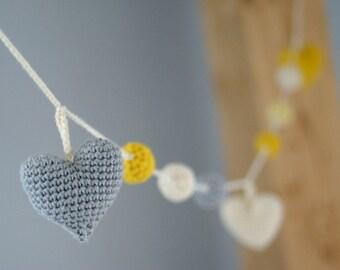 Crochet Hearts Garland: yellow/grey/ivory -Birthday Party Decor - Nursery/Baby Shower-Warm Wedding Garland-Home decor