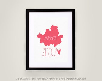 Seoul Map - 11x17 typography print, modern art, travel print, korea, korean, hangul,  kpop, girls generation, snsd, super junior, exo