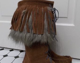 Handmade Brown Suede and Grey Fur Mocassins // Womens Size 8 // made on Vancouver Island