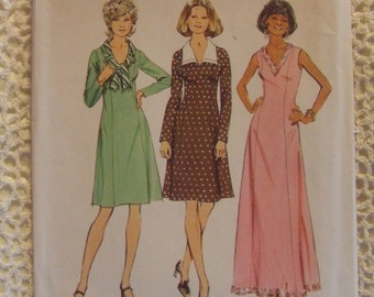 "Simplicity Pattern no. 6615 size 14 1/2  bust 37""  Half-size  For Ladies Dress  1974"