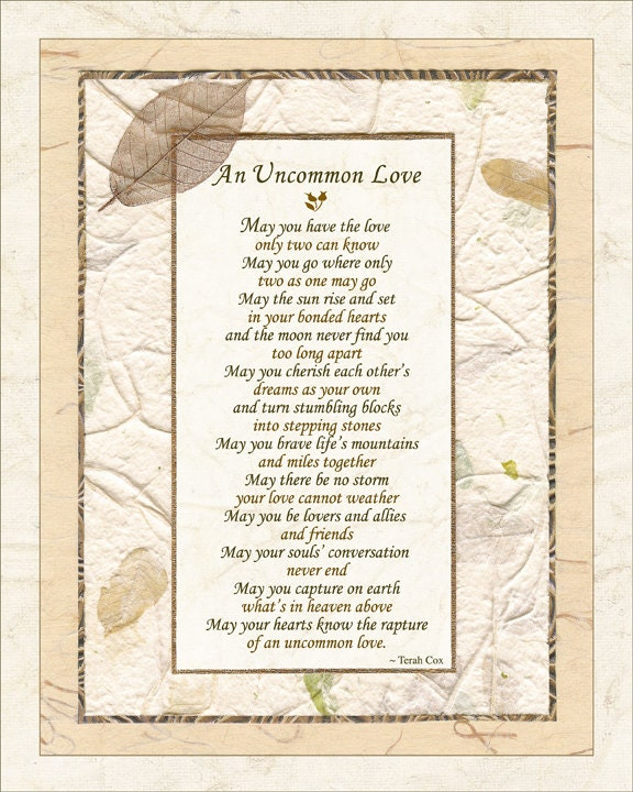 UNCOMMON LOVE Wedding Commitment Poem By Terah Cox