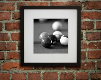 12x12 framed art billiard decor pool room dcor black and white gifts for dad game room wall art ready to hang art billiard balls