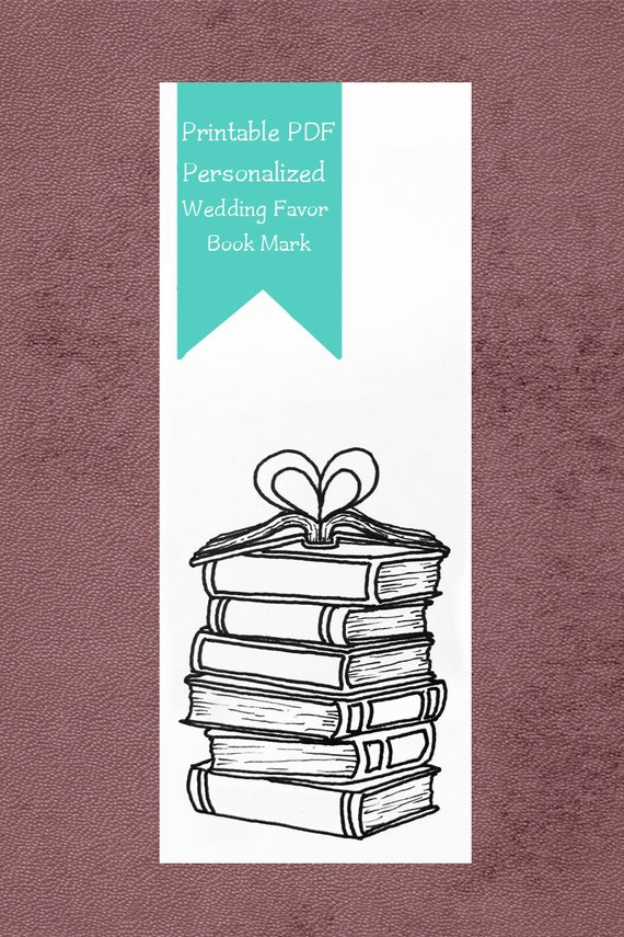 Printable Wedding Favor | Book Mark | Book Lovers | Personalized Book Mark | Library Themed Wedding