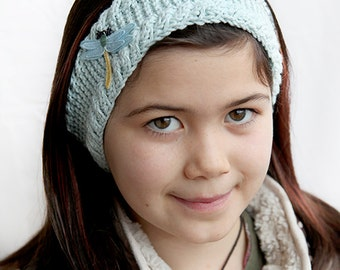 Blue headband, knitting, dragonfly, knitted headband, light blue, yellow, bugs, insect, accessory, winter accessory, childrens.