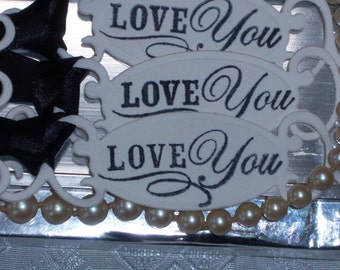 75 LOVE YOU Wedding Tags Adorned With Black Satin Ribbon