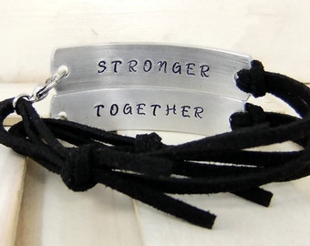 Stronger Together, His and Her's bracelets, Couples Bracelets, Secret Message, Leather Bracelets, Couples Jewelry